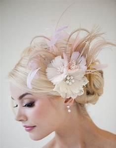 Bridal Fascinator Fascinator Ivory Gold Pink Bridal