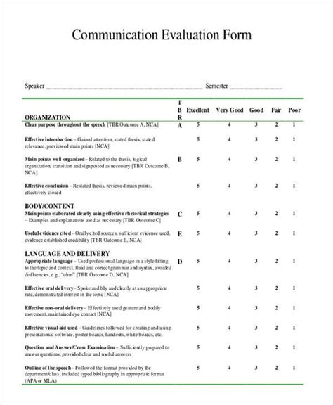 communication evaluation forms   ms word