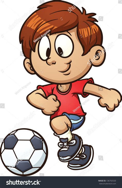 Cartoon Kid Playing Soccer Vector Clip Art Illustration