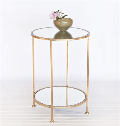 small mirrored accent table worlds away chico small 2 tier gold leaf side table