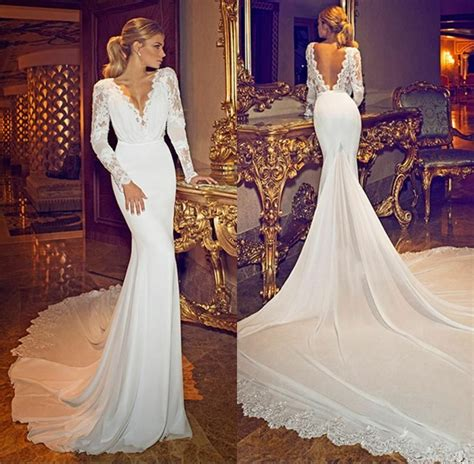sexy  neck long sleeve backless lace wedding dresses