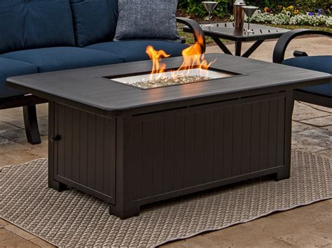 New bali propane gas fire pit table: Outdoor/Patio Solstice Aged Bronze Aluminum 58 x 36 in. LP Gas Fire Pit Coffee Table 7638306