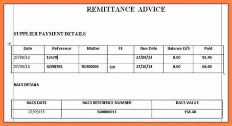 sample remittance advice slip salary slip