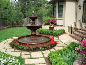 classic, shaped, landscape, fountain, design, ideas
