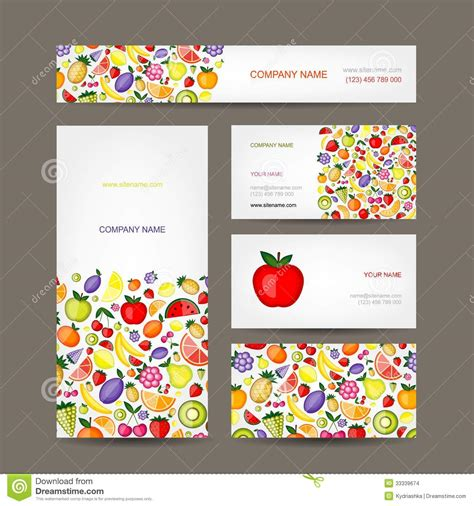 business cards design fruit background stock images