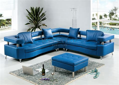 Light Blue Leather Sectional Sofa Brilliant Blue Leather