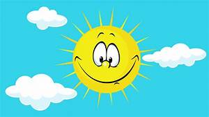 Funny Smiling Summer Sun Shining On Blue Sky With Cloud ...