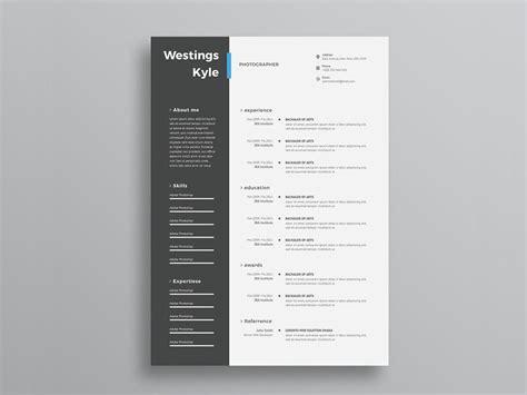 ultra minimal  column photo resume cv template