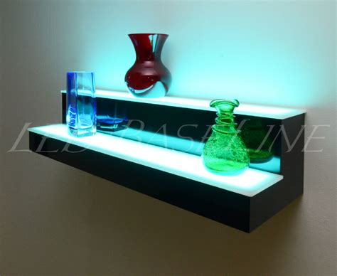 28 quot color changing led lighted bar shelf 2 step wall