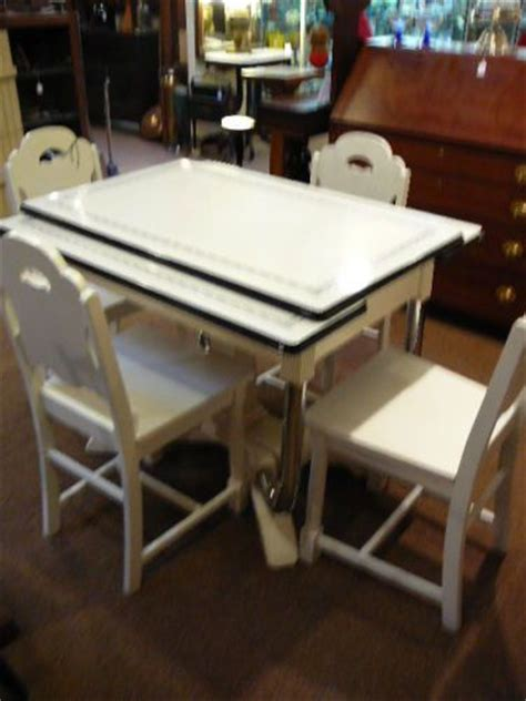 vintage art deco enamel top table  chairs dining set