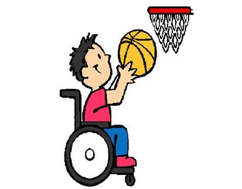 dessin de basket en fauteuil roulant colorie par kevin le