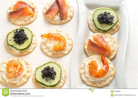 canapé disign canape with seafood on the plate stock image image 57836831