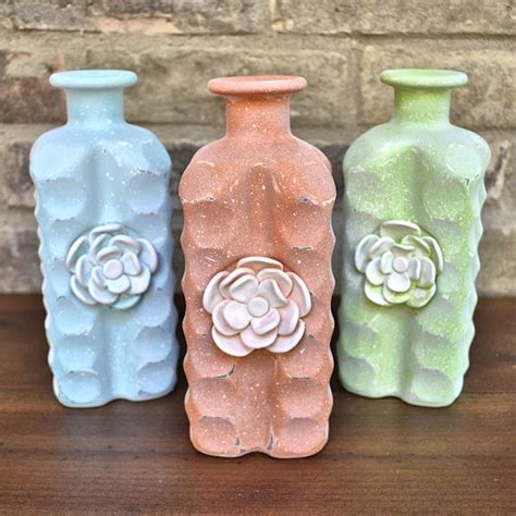diy painted glass bottles  polymer clay flowers