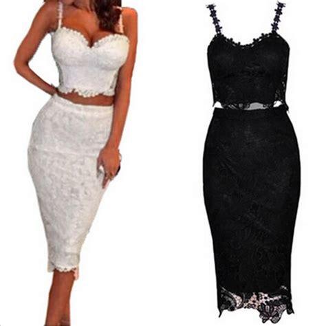 Set Women Two Piece Outfits Black White Lace Dress Female ...