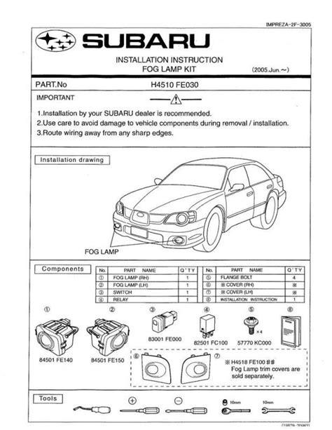 subaru headlight names 06 07 foglight install instructions from subaru i club