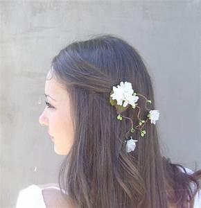 Ivory Flowers And Green Berries Hair Clip Wedding Hair