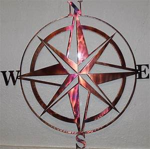 "24"" Compass Rose Silhouette Nautical Metal Wall Art Home"