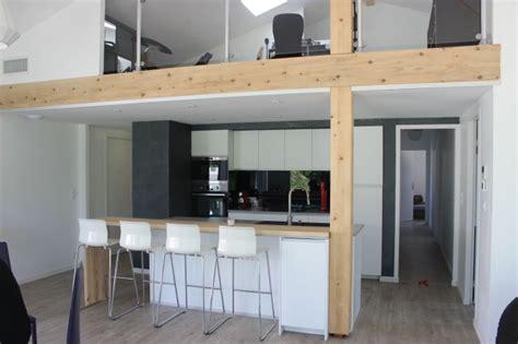atelier cuisine brest maison contemporaine avec mezzanine et charpente apparente