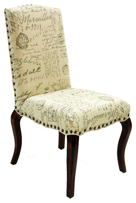madeleine vintage french fabric script chair set   contemporary dining chairs