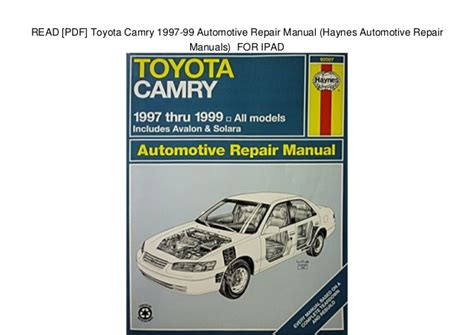 free online auto service manuals 2000 toyota ipsum parking system read pdf toyota camry 1997 99 automotive repair manual haynes auto