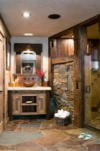 meubles salle de bain et decoration dans le style rustique With salle de bain bois pierre