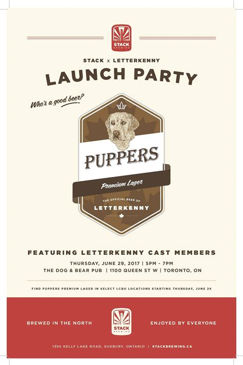 stack  letterkenny present puppers premium lager launch