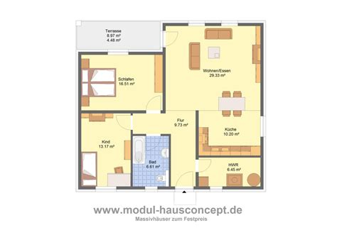 Grundriss Bungalow 100 M2 by Modul Hausconcept Bungalows