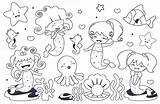 Kawaii Mermaids Coloring Template sketch template
