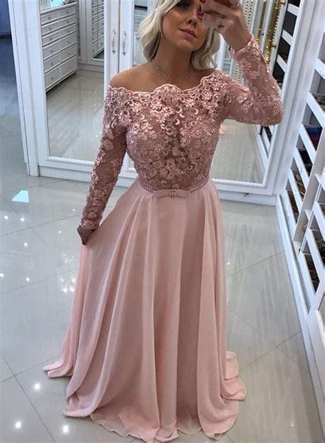 pink lace long prom dress long sleeve evening dress en