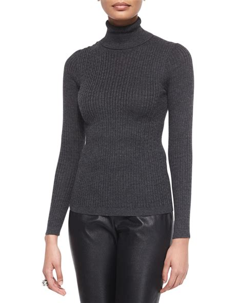 turtleneck knit sweater lyst st ribbed knit turtleneck sweater in gray