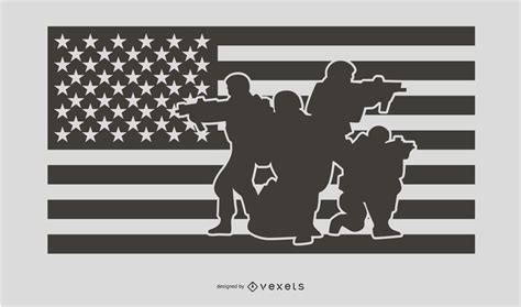 Create custom content and show it on a vector, google or image maps. USA Flag Military People Silhouette Design - Vector Download
