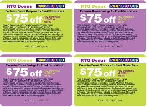 Rooms To Go: $75 off $999 Printable Coupon