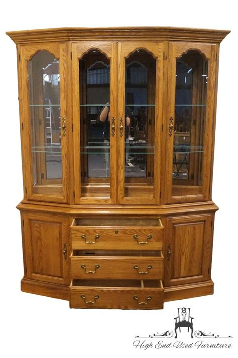 tell city china cabinet value high end used furniture pennsylvania house solid oak 65