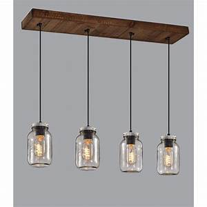 Luminaire Fait Maison : luminaire suspendu sur base en bois avec pots mason en ~ Melissatoandfro.com Idées de Décoration