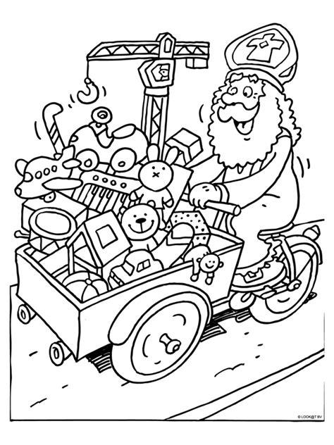 Kleurplaat Zwarte Piet Fiets by Kleurplaat Sinterklaas Met Bakfiets Kleurplaten Nl