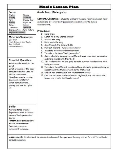 lesson plan template for elementary school 1000 images