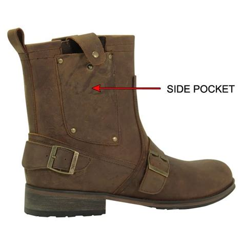 buckle motorcycle boots xelement mens brown side pocket buckle motorcycle boot