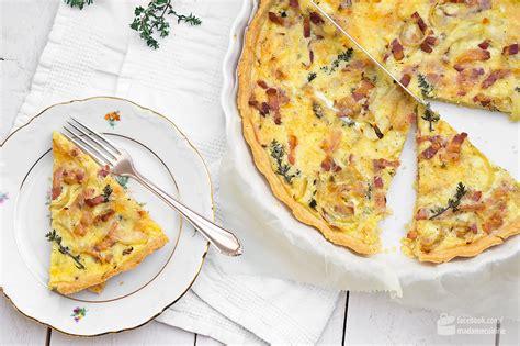 cuisine quiche lorraine quiche lorraine mit speck und zwiebeln madame cuisine
