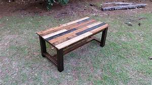 Reclaimed wood coffee table built from pine planking for Rustic coastal coffee table
