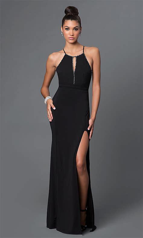 floor length open  prom dress promgirl
