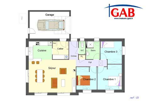 plan maison 3 chambre plain pied plan maison plein pied 3 chambres gratuit