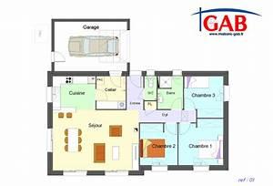 plan maison plain pied 3 chambres avec garage segu maison With plans de maisons individuelles gratuits