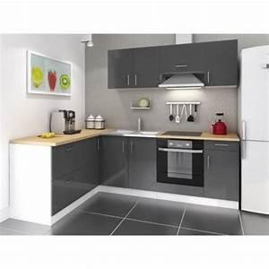 Mcd cuisine complete 280 cm laque gris cosy pas cher for Idee deco cuisine avec cuisine equipee noir laque pas cher