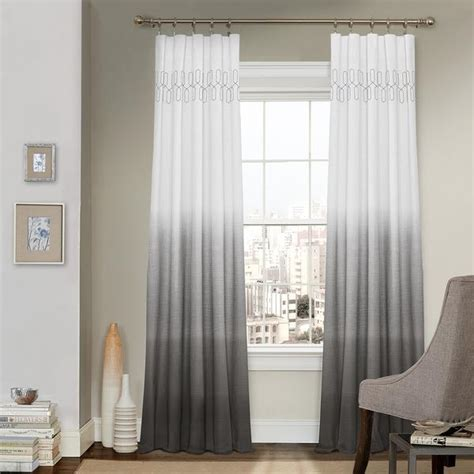 Grey Drapery Panels by Gray Ombre Embroidery Curtain Panel