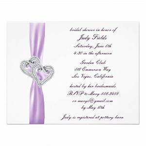 Custom hearts lavender bridal shower invitations zazzle for Custom wedding shower invitations