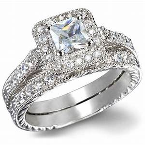 gia certified 1 carat princess cut diamond vintage wedding With 1 carat wedding ring set