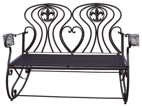 brown metal fleur de lis 2 person rocking chair