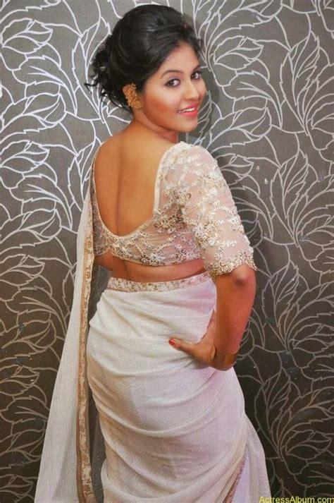 anjali sexy  sheer white saree actress album