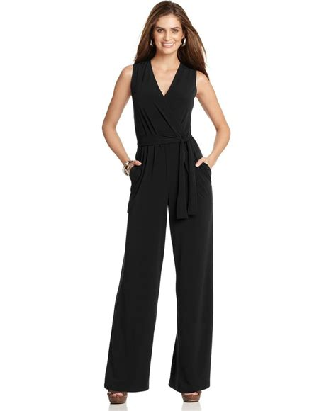womens wide leg jumpsuit ny collection sleeveless wide leg jumpsuit