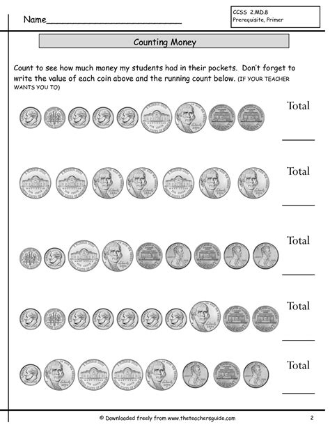 counting coins worksheets from the s guide